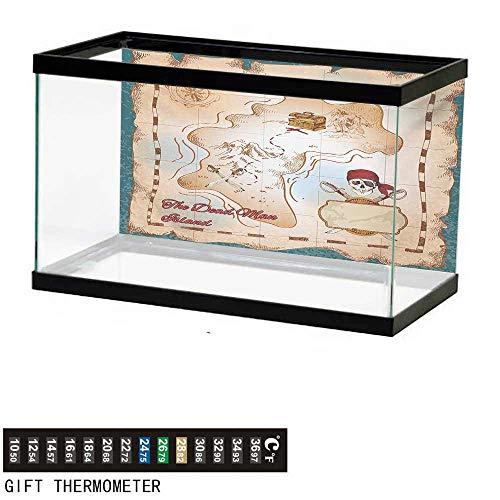 (wwwhsl Aquarium Background,Island Map,Cartoon Pirate Treasure Map Crossbones and Skull Dead Man Island Children Design,Teal Cream Fish Tank Backdrop 72
