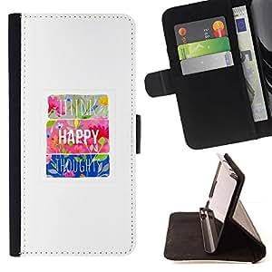 For Samsung Galaxy S6 Active G890A Case , Floral minimalista motivación feliz impresiones- la tarjeta de Crédito Slots PU Funda de cuero Monedero caso cubierta de piel