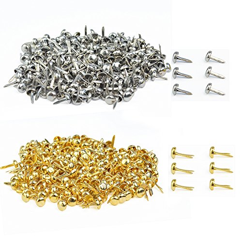 baotongle 500 PCS Paper Fasteners, Brass Plated Scrapbooking Brads Round Metal Brads with Storage Bag for Crafts Making DIY, Gold and Silver ()