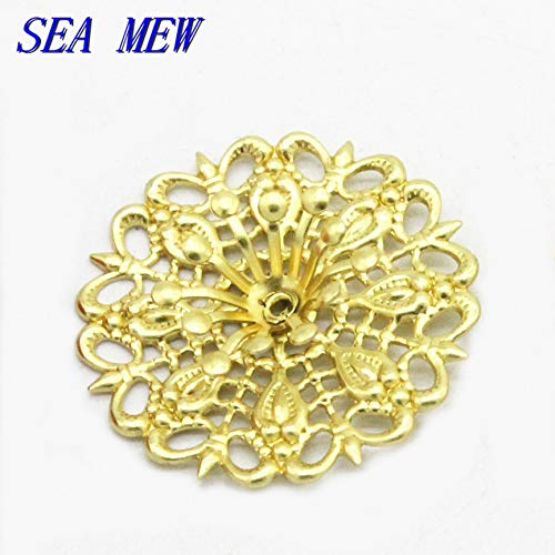 Laliva Accessories - 10PCS 25mm Metal Copper Flowers Base Setting Raw Brass Filigree Flowers Tray Connectors for Jewelry Making - (Size: Raw ()