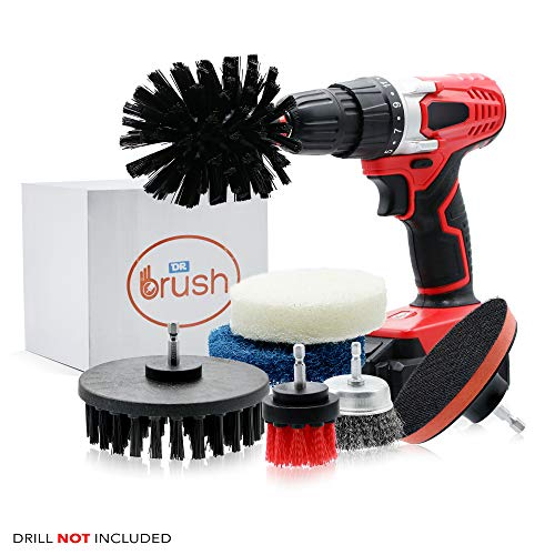 Dr Brush Drill Brush Attachment Cleaning Kit Set All Purpose Power Scrubber Wire Cup for Bathroom, Auto,Toilet, Kitchen, Grout, Deck, Carpet, Shower, Tub, Grill,Tile, Wheels Stiff Medium, (Pack of 6)