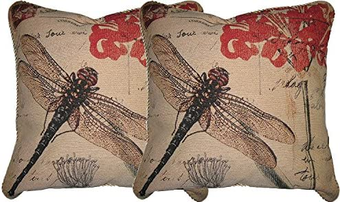 DaDa Bedding DP-15041 Dragonfly Dream Woven Decorative Pillows, 18 by 18-Inch, Set of 2