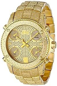 "JBW Men's JB-6213-A ""Jet Setter"" Gold Five Time Zone Diamond Watch"