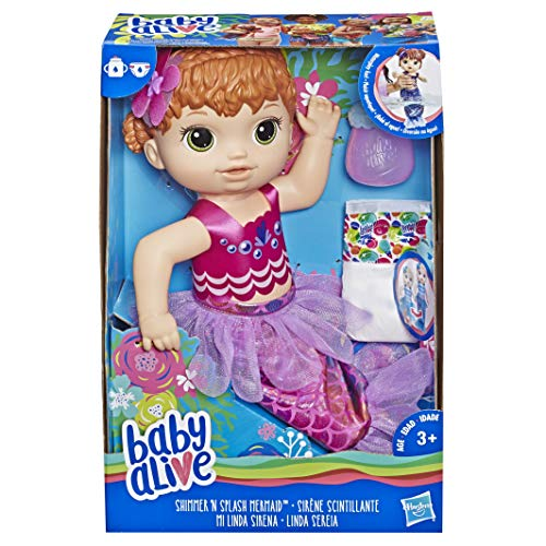 Baby Alive E4410ES1 Shimmer N Splash Mermaid Figure, Multi-Colour ()