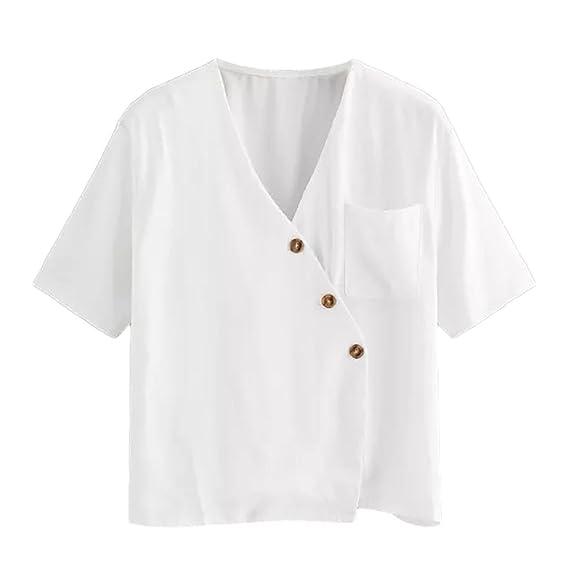 Blusas Blancas de Mujer Manga Corta, Las Mujeres Ocasionales de Manga Larga Color Block Stripe