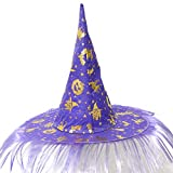 Serzul Easter Halloween Costume Party Accessory Cap Adult Women Men Witch Hat Fluff Solid Cap Purple