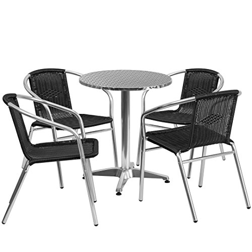 MFO 23.5'' Round Aluminum Indoor-Outdoor Table with 4 Black Rattan Chairs