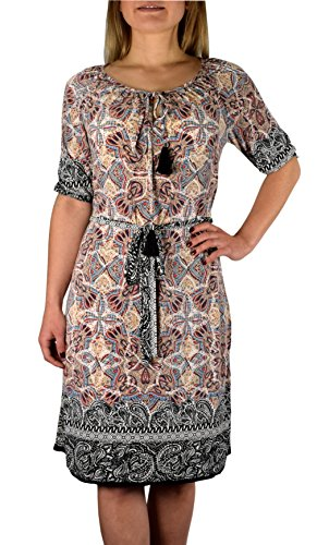 Peach Couture Tribal Vintage Boho Neck Tie Floral Print Summer Shift Dress with Tassels Beige Large