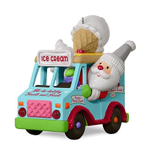(Hallmark Keepsake 2017 Santa's Sweet Surprise Ice Cream Truck Light and Music Christmas Ornament )