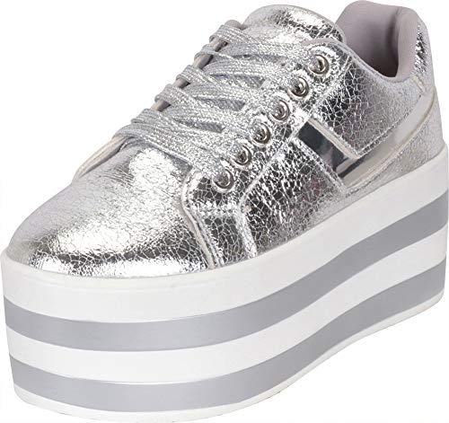 Spice Girl Shoes - Cambridge Select Women's Low Top 90s Lace-Up Striped High Platform Flatform Fashion Sneaker,8 B(M) US,Silver PU