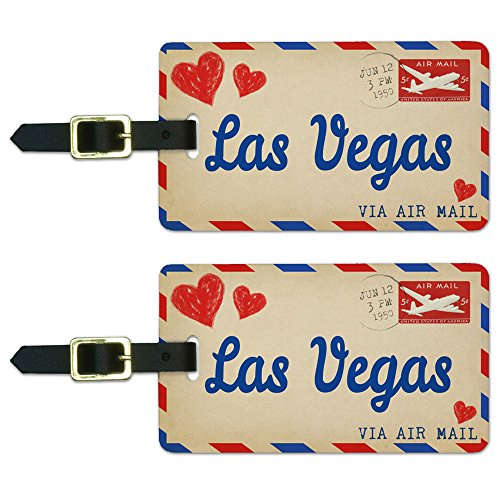 Graphics & More Air Mail Postcard Love for Las Vegas Luggage Suitcase Carry-on Id Tags, White