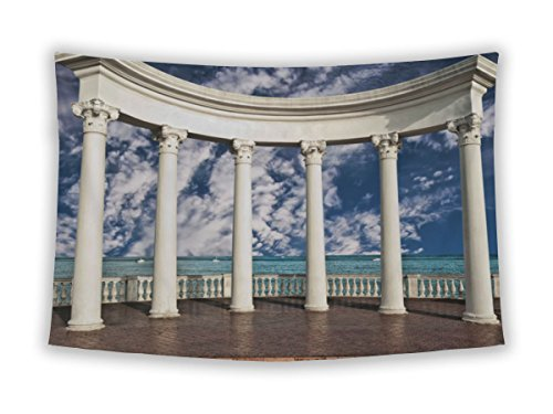 Gear New Wall Tapestry For Bedroom Hanging Art Decor College Dorm Bohemian, Parthenon Ancient Greek Columns Against Blue Sky And Sea, (Greek Corinthian Column)