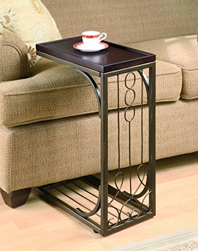 Coaster 900280 Snack Table with Burnished Copper Base, (Copper Sofa Table)
