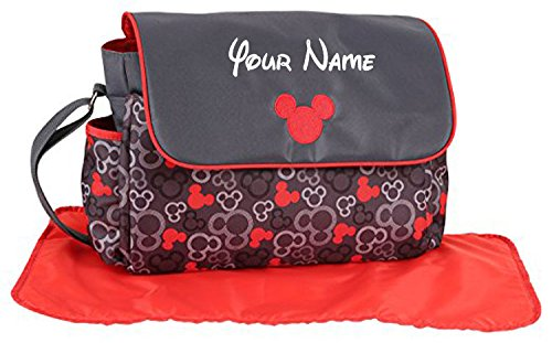 Personalized Disney Mickey Mouse Grey and Red Icon Baby Diaper Bag - 17 Inches