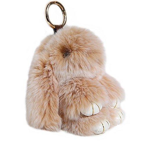 RitzyBay Handmade Bunny Rabbit Fur Keychain for Women's Bag Charms or Car Pendant (Small, SnowtopGold)