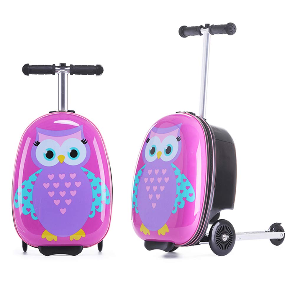 18 Inch Kid's Scooter Luggage Animals Pattern Cute Cartoon Ride-on Suitcase With Collapsible Scooter Children's Hardshell Suitcase Scooter Can Stand Skateboard Trolley Case Slide (owl)