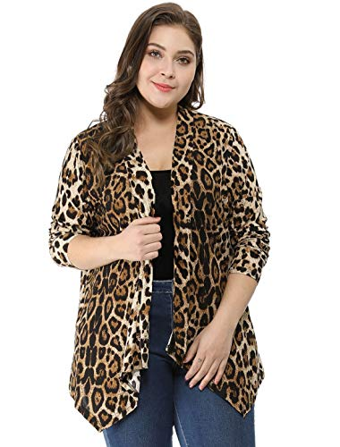 uxcell Women's Plus Size Leopard Print Asymmetric Open Front Fashion Cardigan Beige 2X