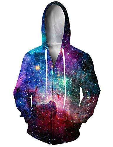 (UNIFACO Teen Boys Girls Colour Galaxy Zip Up Hoodie All Over Print Jacket Sweatshirt Medium )