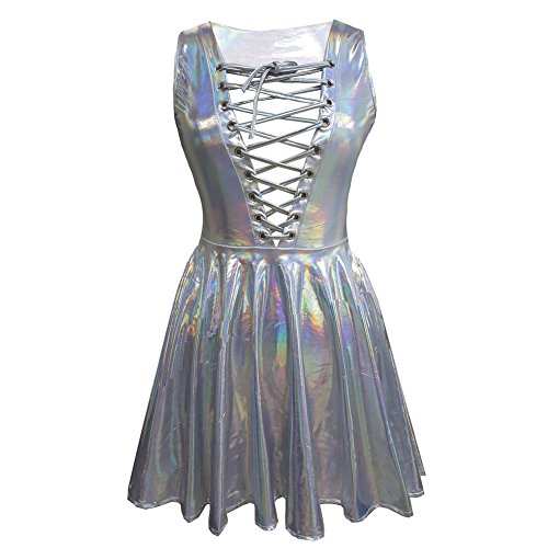 pinda Summer Music Festival Rave Clothes Holographic Laced Up Circle Skater Dress (L, 8086Silver)