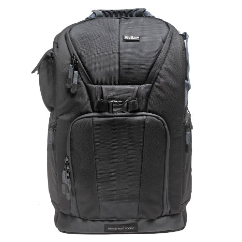 Vivitar Series One Digital SLR Camera/Laptop Sling Backpack - Small (Black) Holds Most 14''' Laptops with 58'' Tripod + Kit for Canon, Nikon, Olympus, Panasonic, Fuji & Sony Alpha Cameras