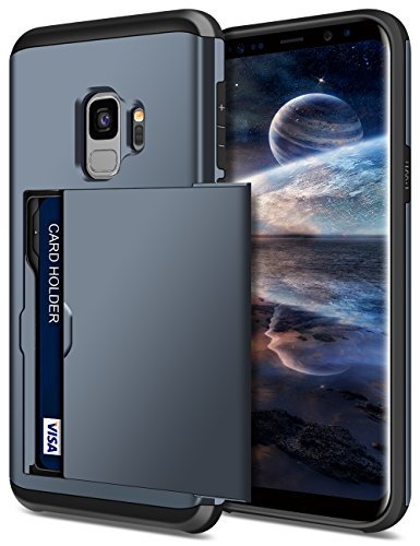 SAMONPOW Galaxy S9 Case,Hybrid S9 Wallet Case Card Holder Shell Heavy Duty Protection Shockproof Defence Anti-Scratch Soft Rubber Bumper Cover Case for Samsung Galaxy S9 (2018) - Dark Blue