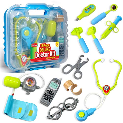 Durable Kids Doctor Kit with Electronic Stethoscope and 12 Medical Doctor's Equipment, Packed in a Sturdy Gift Case -