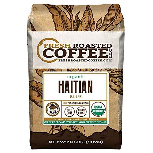 Organic Haitian Blue Coffee, Whole Bean Bag, Fresh Roasted Coffee LLC. (2 LB.)