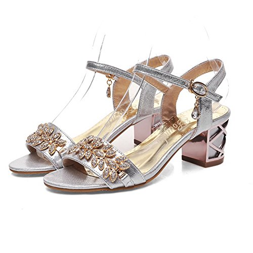 Kitten Solid Buckle Soft Material Sandals Open AgooLar Heels Silver Toe Women's tTw4x8Yq