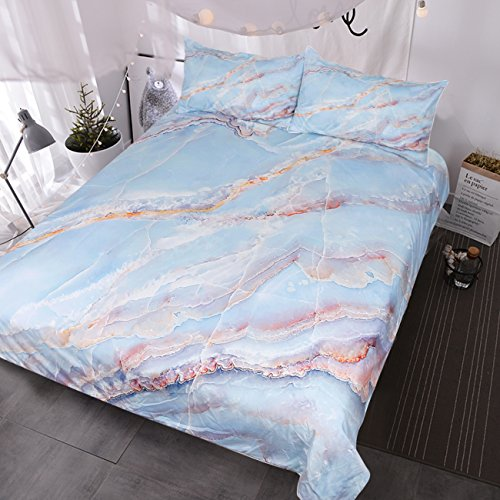 BlessLiving Abstract Blue White Rose Gold Pink Marble Texture Bedding, Natural Stone Pattern Duvet Cover, 3 Piece Chic Luxury Bedding Set (Queen) (Gold Bedding Coloured)