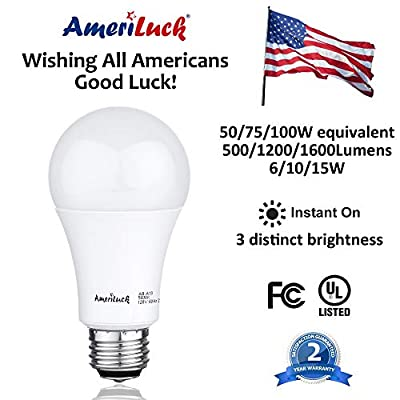 AmeriLuck 100W Equivalent A19 LED Light Bulb, 15W, Non-Dimmable 5000K Natural Daylight, 4 Pack