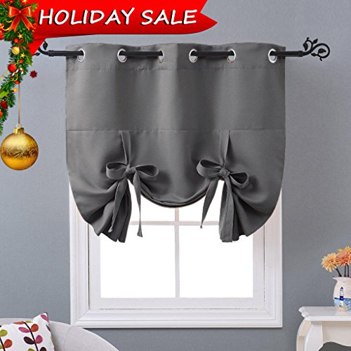NICETOWN Thermal Insulated Grey Blackout Curtain - Tie Up Shade for Small Window (Grommet Top Panel, 46