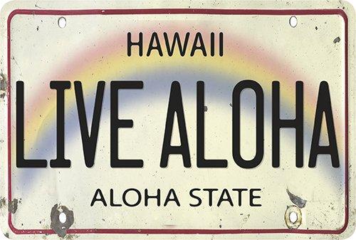 Aloha Paper (Hawaiian Vintage Postcards Pack of 30 - Live Aloha Hawaii License Plate)