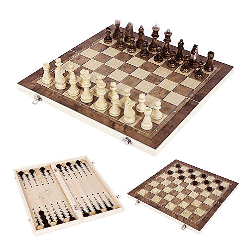 3 in 1 Wooden Chess Checker Set 12''x12'' Foldable Travel Wood Chess Set for Kids or Adults