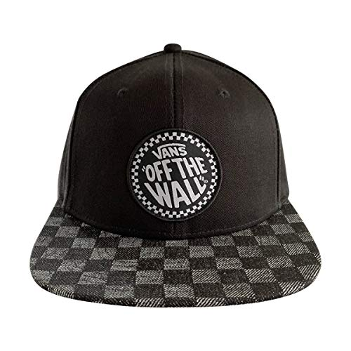 Vans Off The Wall UnisexSnapback Hat (Black-Black/Checkerboard, OS)