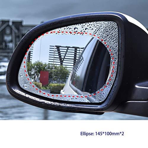 (NICOLAS 2Pcs Micro-Nano Rearview Mirror Rain Film, Full-Screen Rearview Mirror Rain Film, Rainproof Anti-high Beam Bus HD Inverted Mirror Rain Film (Color : Ellipse))