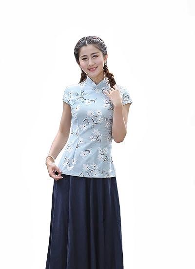 XueXian(TM) Mujer de Tang de Elegante Oriental de Mango Corta de Azul: Amazon.es: Ropa y accesorios