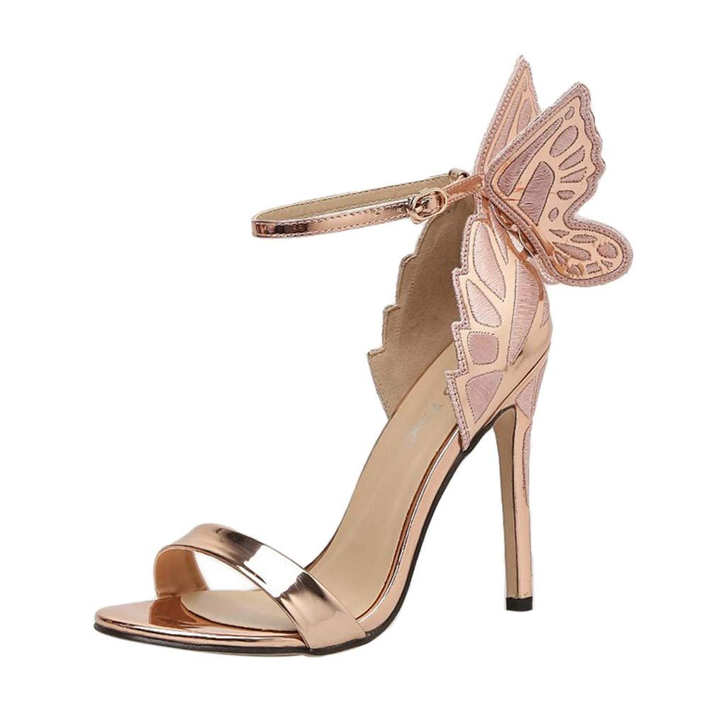 Woman Roman Butterfly Back Stiletto Ankle Strap Buckle High Heel Shoes Retro Peep Toe Glossy Sandals Party Boots Shoes (Rose Gold, 5 M US)