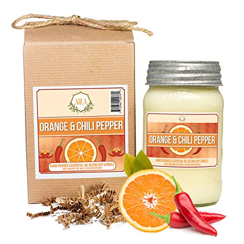Aira Soy Candles - Organic, Kosher, Vegan, in Mason Jar w/Therapeutic Grade Essential Oil Blends - Hand-Poured 100% Soy Candle Wax - Paraffin Free, Burns 110+ Hours - Orange Chili -16 Ounces