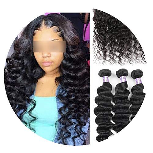 Allove Loose Deep Wave Bundles Peruvian Hair Bundles Human Hair Extensions 1/3/4 Bundles Deals Non Remy Hair Weave Bundles Weft,12 14 16