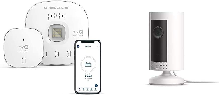 Key by Amazon in-Garage Delivery Bundle | Chamberlain myQ-G0401 - Wireless Smart Garage Hub and Controller, Wi-Fi & Bluetooth with Ring Indoor Cam HD Security Camera with Two-Way Talk, White