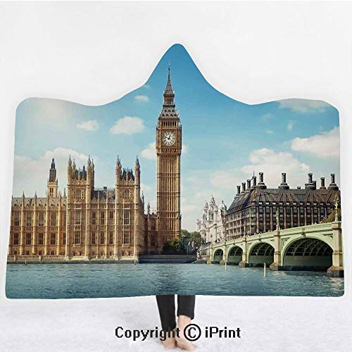 - London 3D Print Soft Hooded Blanket Boys Girls Premium Throw Blanket,Scenery of Big Ben Westminister Brigde Thames River and Houses of Parliament,Lightweight Microfiber(Kids 50