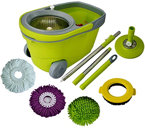 Price comparison product image Green Direct Spin Mop and Bucket Deluxe Cleaning System with Microfiber Head,  Easy Spinning Wringer