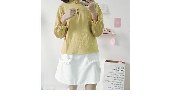 XXIN /Ladies Blusas Bordadas/Liberal/Estudiantes Una Maqueta Camiseta Cuello T-Shirt/Son Código/Jengibre Amarillo: Amazon.es: Deportes y aire libre