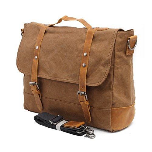VRIKOO Casual Retro Canvas Satchel Messenger Bag Work Shoulder Bag for Men Women (Dark Grey) Caqui