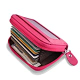 Accordion Style Wallet for Women, RFID Blocking Card Holder for Travel and Work, for Business Cards, and Driver License, Genuine Leather Wallet for Credit Card and Money KB-rose red