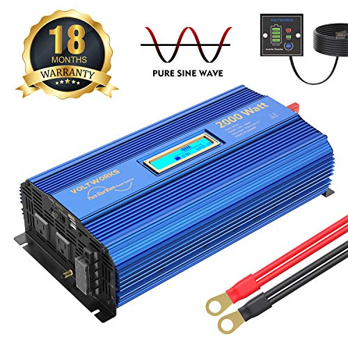 2000Watt Pure Sine Wave Power Inverter 12V DC to 120V AC with 4 AC Outlets Dual 2.4A USB Ports Remote Control & LCD Display by VOLTWORKS