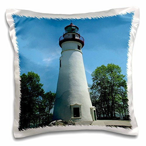 3dRose Marblehead Lighthouse Looking Over Lake Erie - Pillow Case, 16 by 16-inch ()