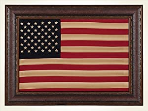 Antique Cloth American Flag, Framed, Wall Art, Décor