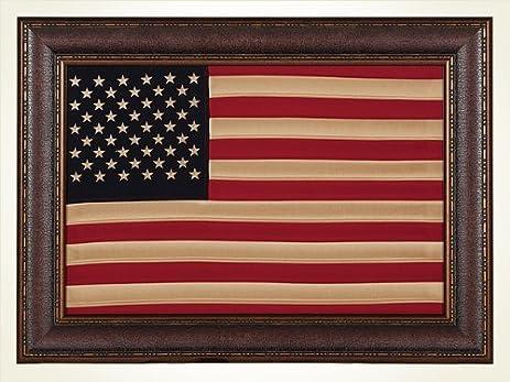 Amazon.com: Antique Cloth American Flag, Framed, Wall Art, Décor ...