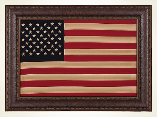 - Antique Cloth American Flag, Framed, Wall Art, Décor